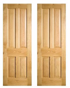 Four Panel solid Oak Doors. In stock at EC Forest Products