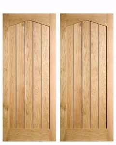 Solid Oak Centrally Boarded Arch Headed door. In stock at EC Forest Products.