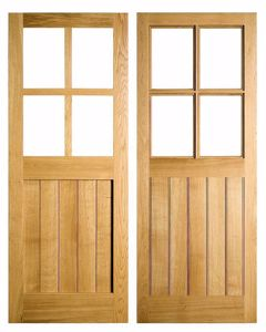 Half Glazed 4 Pane Door in Solid Oak. In stock at EC Forest Products.