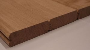 Internal T G and V Cladding example in Oak. Available from EC Forest Products.