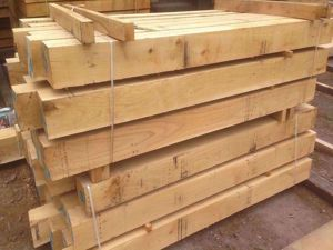 Fresh Sawn European Oak Beams in EC Forest Products yard.