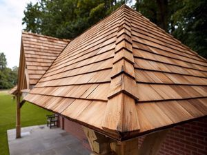 Cedar Shingles roof project. Sustainable roof product